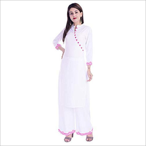 Ladies Rayon Kurti with Palazzo Set