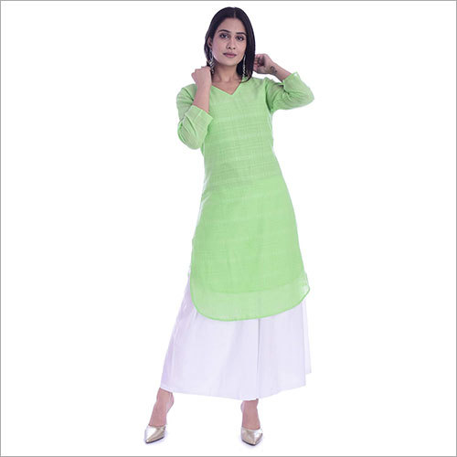 Ladies Cotton Plain Straight Kurti With Palazzo Set
