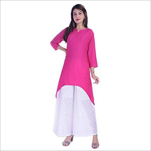Ladies Rayon Pink Kurti with Cotton Palazzo Set