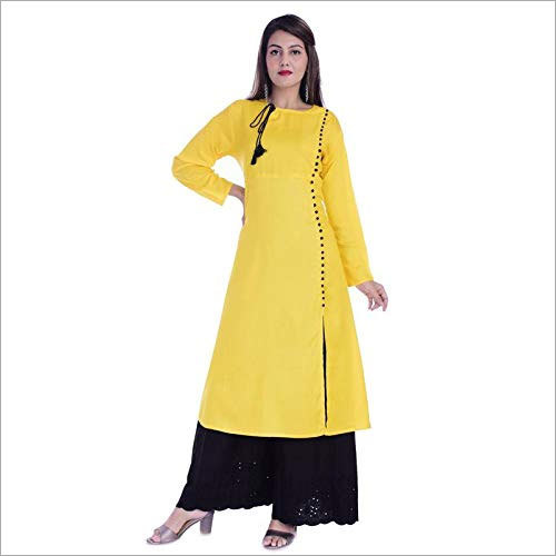 Ladies Rayon Plain Kurti with Cotton Palazzo Set