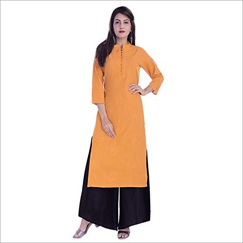 Ladies Cotton Kurti with Rayon Palazzo Set