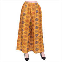 Ladies Rayon Regular Fit Mustard Palazzo
