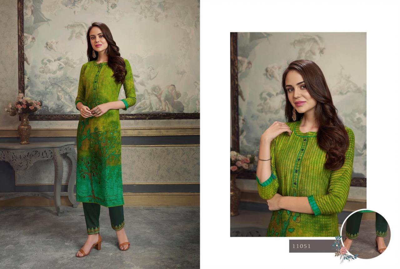 Rayon Print Jam Silk with Embroidery Work Pants