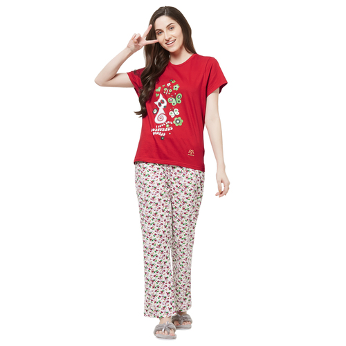 Evolove Womens Printed Pajama T Shirt Sets (EVO4)
