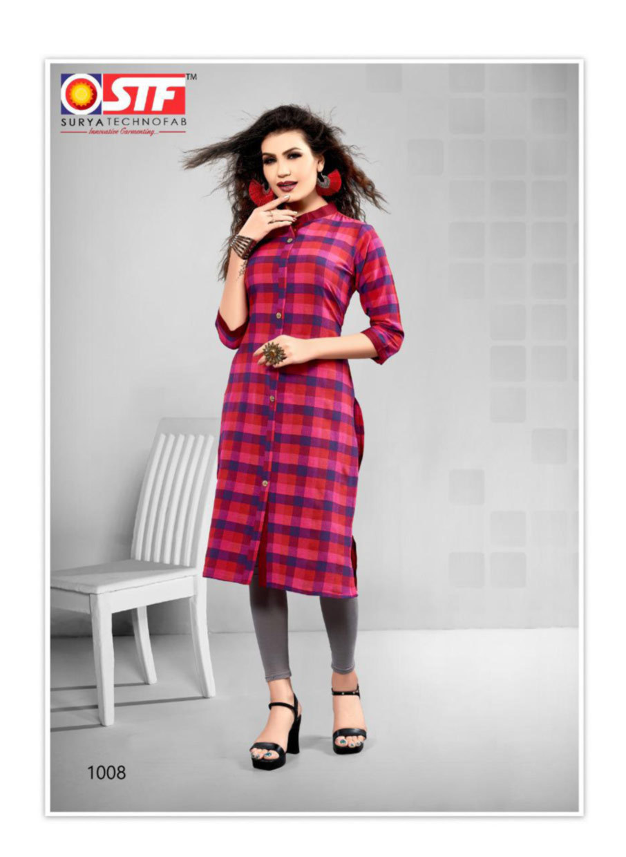 Straight Cut Cotton Kurtis With 3/4th Sleeves