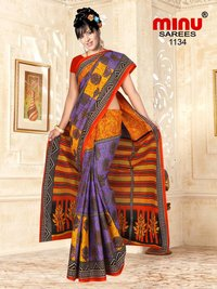 Minu Cotton Printed Fancy Saree