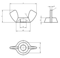 DIN 314 Wing nuts with edged wings