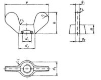 DIN 315d  Wing nuts with rounded wings