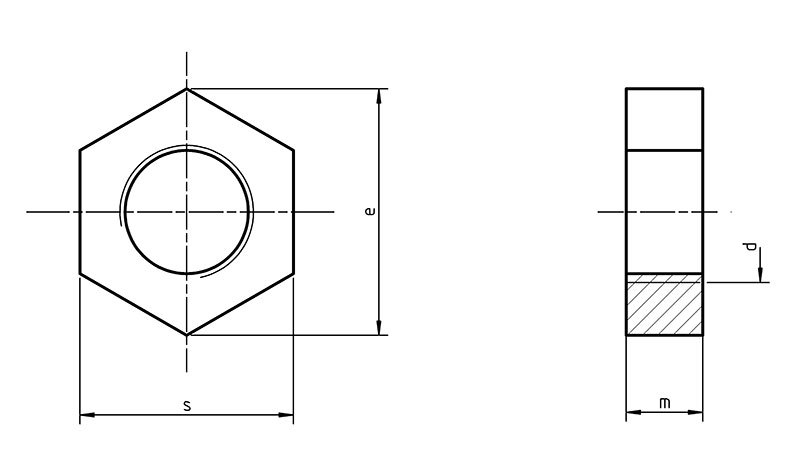 DIN 439A Hexagon thin nuts unchamfered