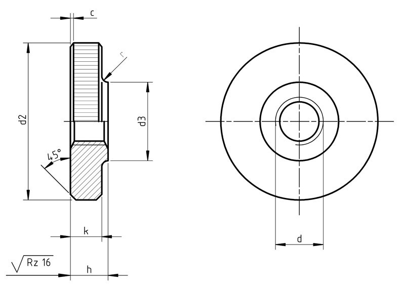 DIN 467 Knurled nuts low type