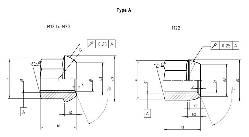 DIN 74361 A Spherical collar nut form A