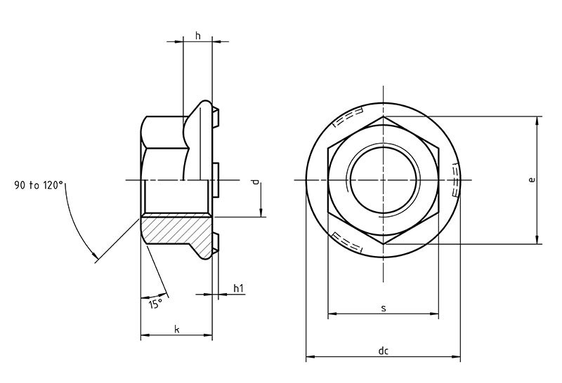 DIN 977 Hexagon weld nut with flange