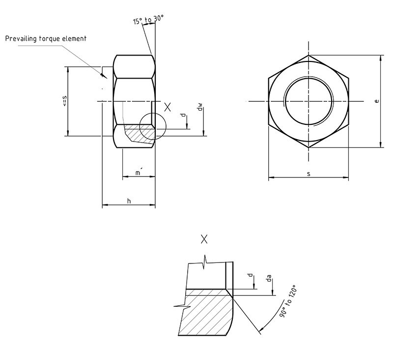 DIN 980 Hexagon nut with clamping part