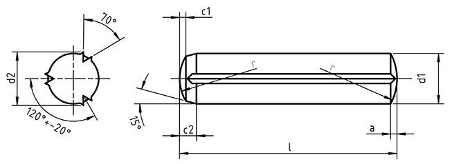 DIN 1473 Cylindrical grooved pin