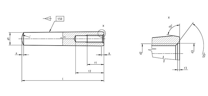 DIN 7978 Taper pins with internal thread