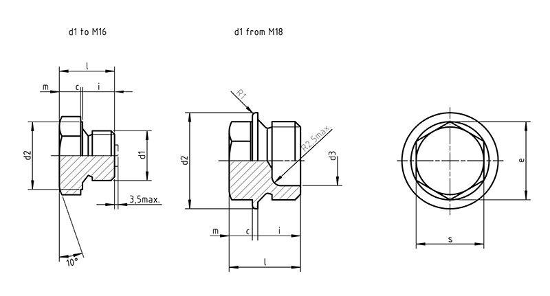 DIN 7604 c Screw plug with collar and external hexagon