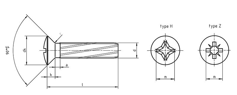 DIN 7516E Self tapping screws raised countersunk Phillips