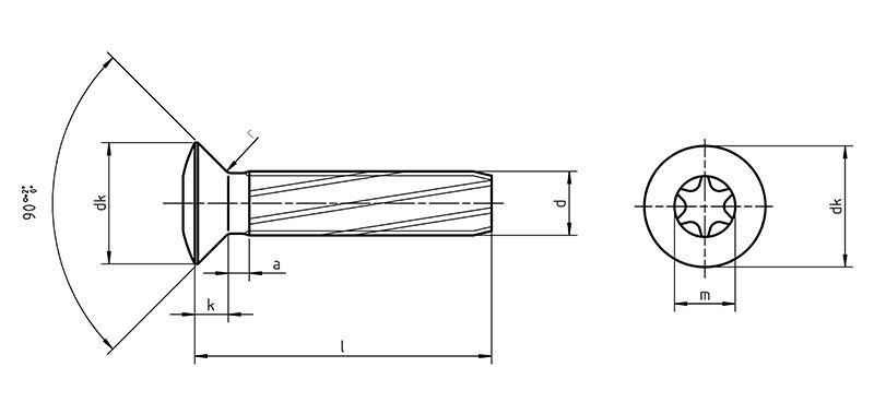 DIN 7516 Etx Self tapping screws raised countersunk TORX
