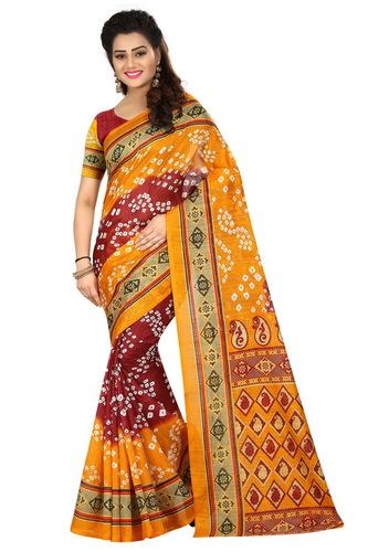 new bhagalpuri bandhanii silk saree with attechd blouse