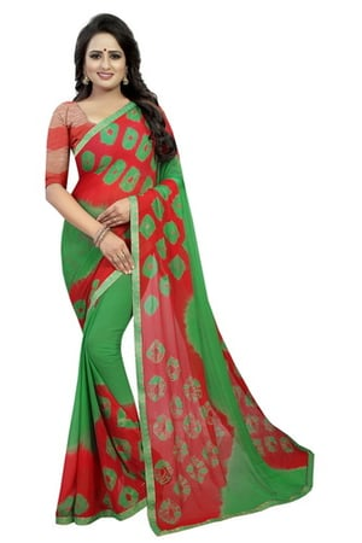 new chiffon bandhani  saree