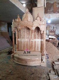 half round wooden temple