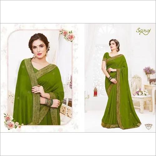 Fancy silk parrot green saree