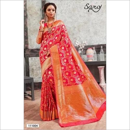 Pink designer banarasi silk saree