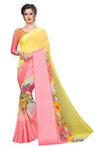 new chiffon satin flower saree