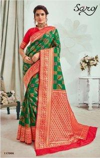 Beautiful  Green color patola silk saree