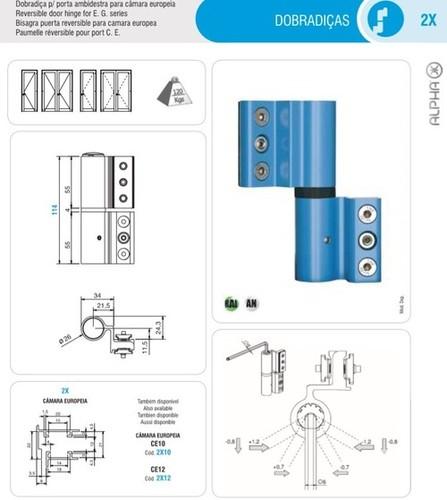 Reversible door Hinges for E. G. Series