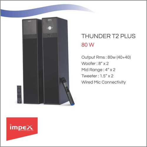 Impex THUNDER T2 PLUS Tower Speakers - Black