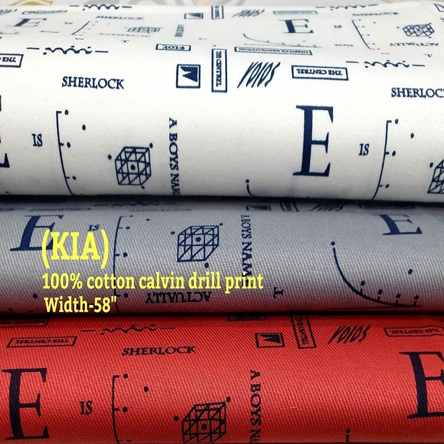 Kia 100% cotton calvin drill print