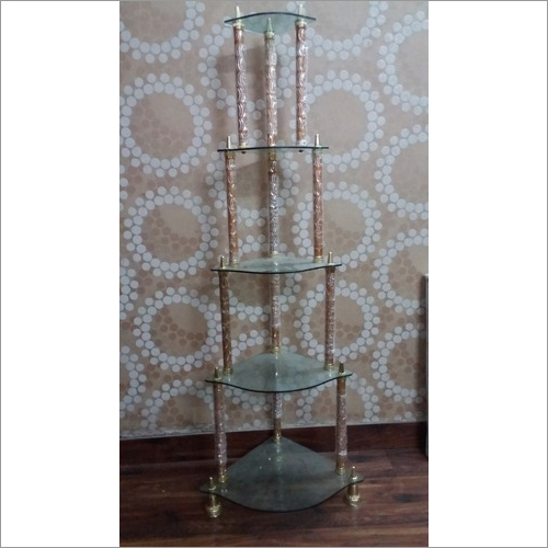 5 Steps Glass Corner Stand