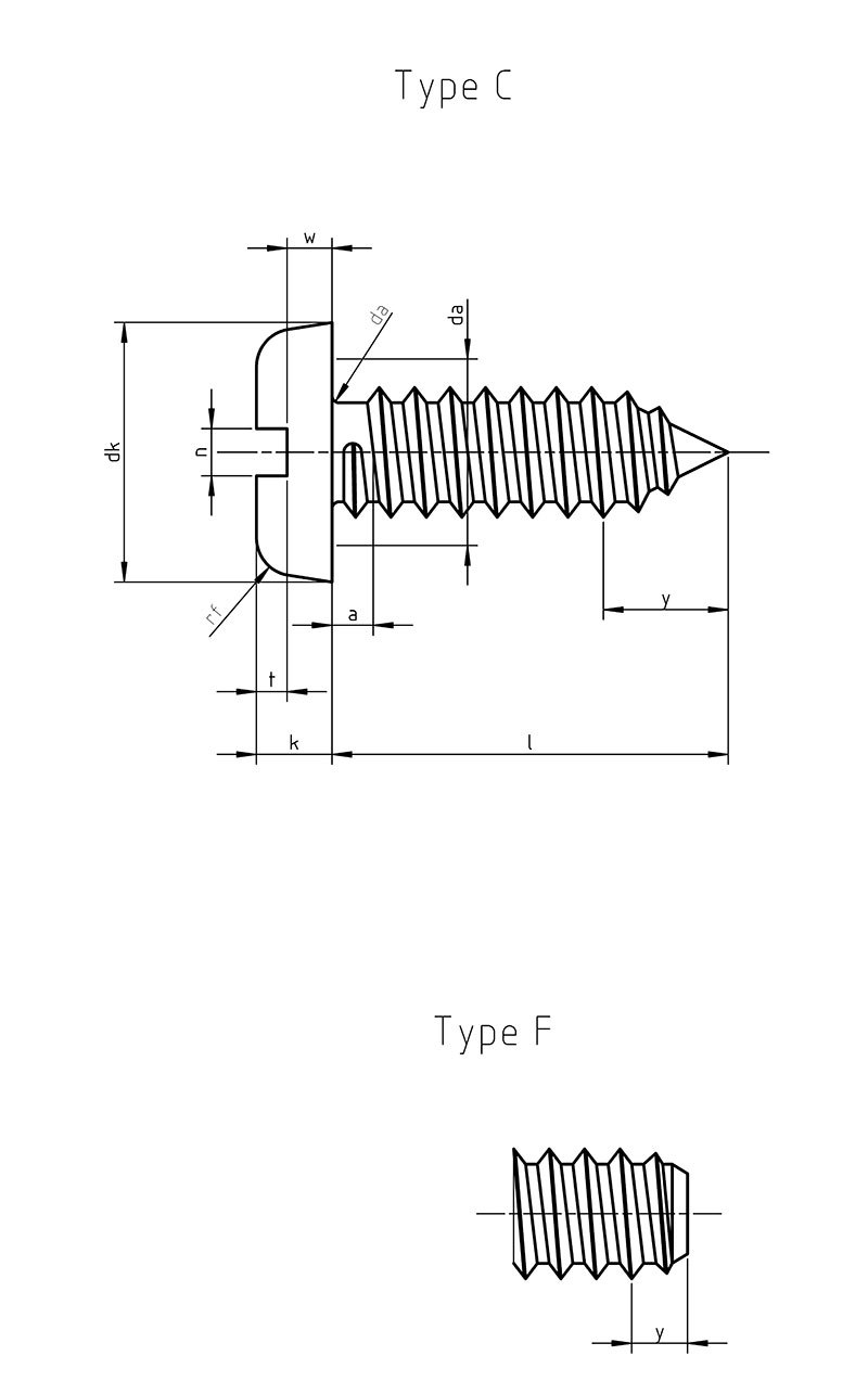 DIN 7971 Tapping screws  slotted pan head