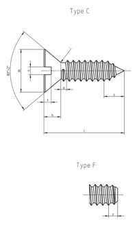 DIN 7972 Slotted countersunk head tapping screw