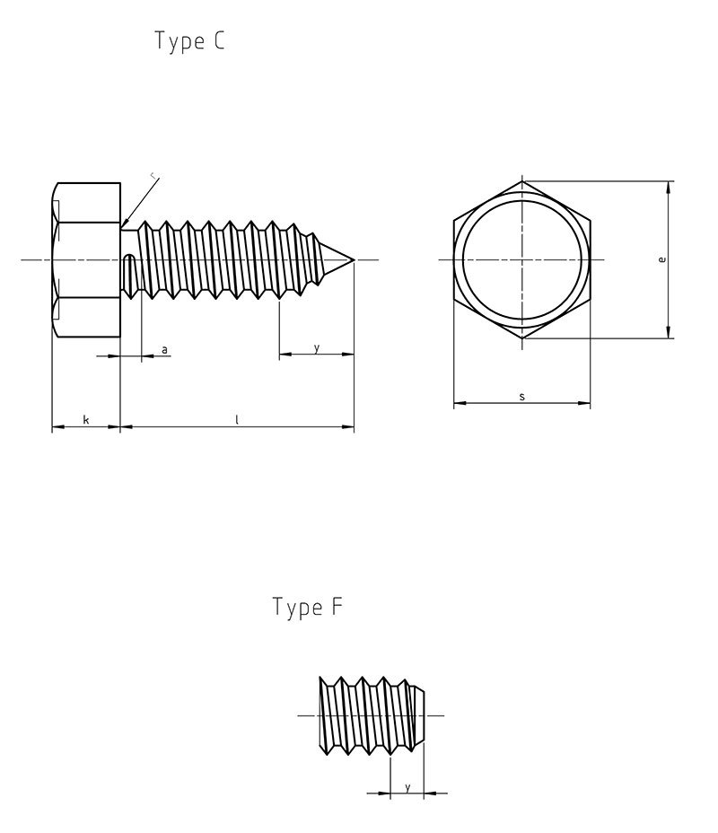 DIN 7976 Hexagon head self tapping screw