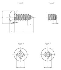 DIN 7981 C Pan head tapping screws with cross recess H and Z Form C