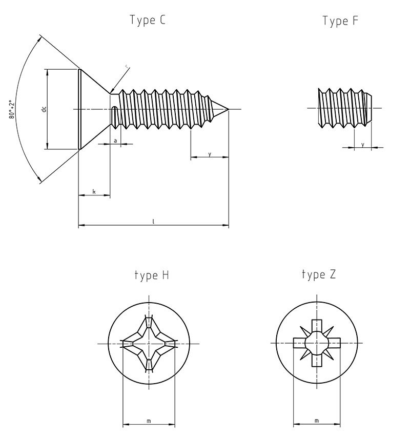 DIN 7982 F Cross recessed countersunk head tapping screws