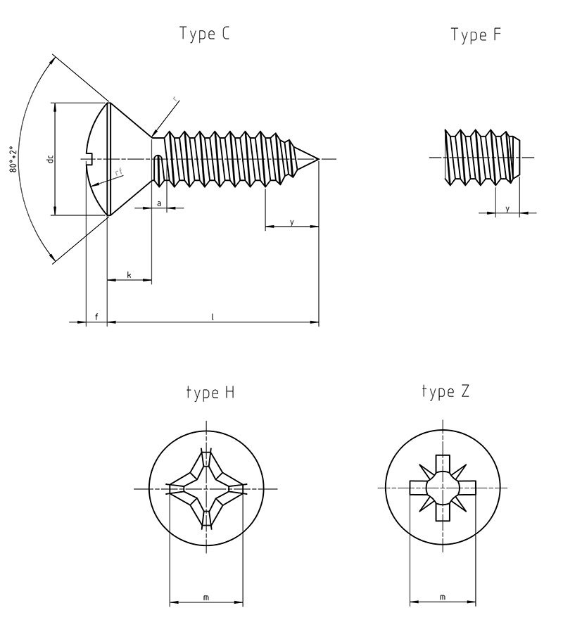 DIN 7983 F Countersunk Flat Head Tapping Screws with Cross Recess