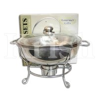 Round Chaffer with Glass Lid & Wire Stand