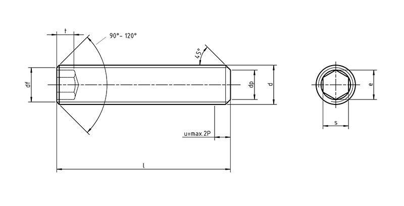 DIN 913 Hexagon socket set screw with flat point