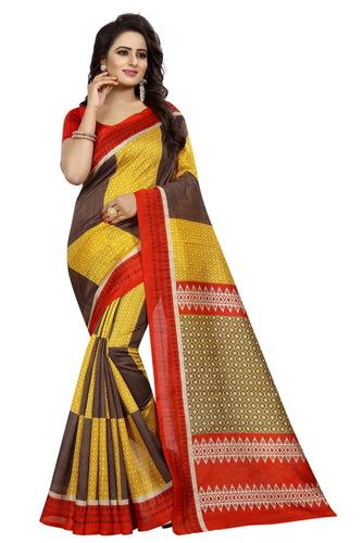 bhagalpuri tiles yellow saree