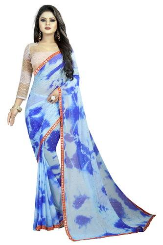 chiffon bindu blow saree