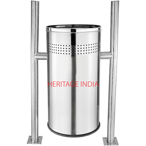 Pole Hanging Stainless Steel Perforated Dustbin