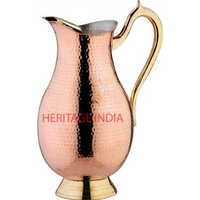 Copper Hammered Tin Coated Water Jug