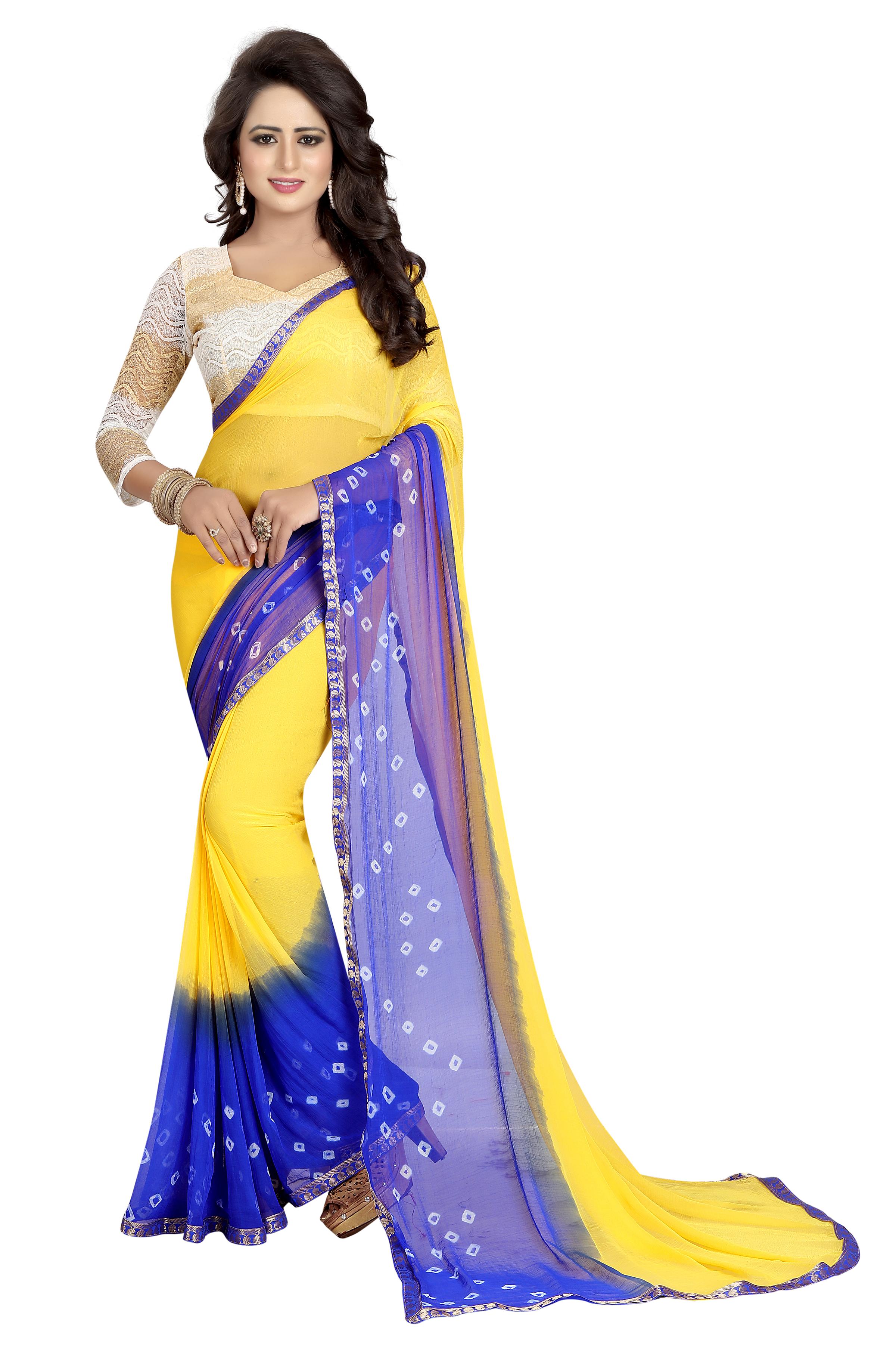 chiffon bandhani saree