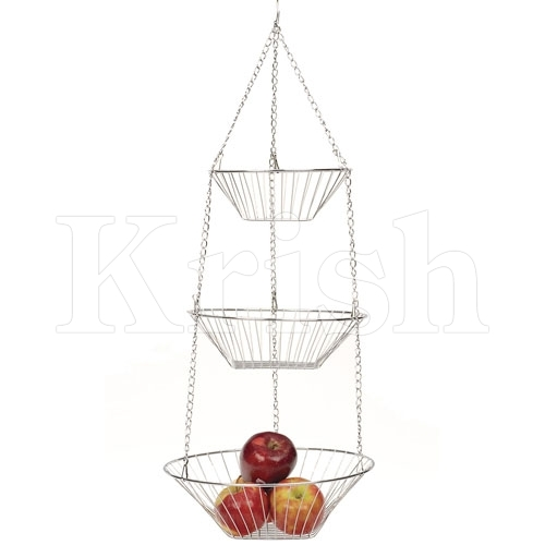 Round Hanging Fruit Baskets - 3 Tier