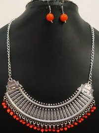 Oxidised Long Hasli Necklace Set
