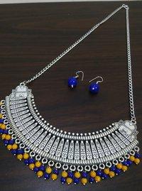 Oxidised Long Hasli Necklace Set
