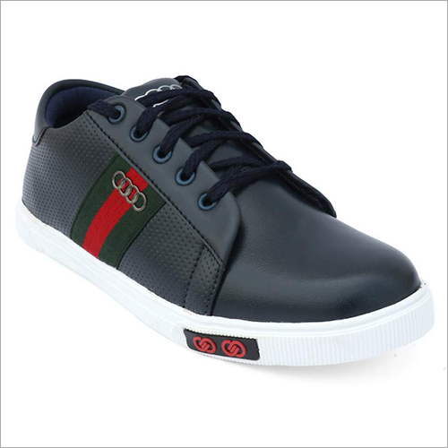 Mens Synthetic Leather Black Sneakers Shoes